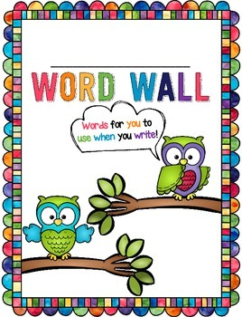 Personal Student Word Wall - Use with a File Folder! **Owl Theme**