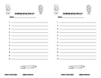 Personal Student Writing Topics List