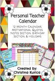 Personal Teachers Calander