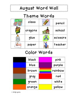 Personal Themed Word Walls