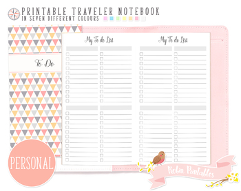 Personal To Do List Traveler Notebook Refill