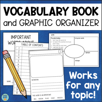Personal VOCABULARY Booklet for Any Topic or Theme