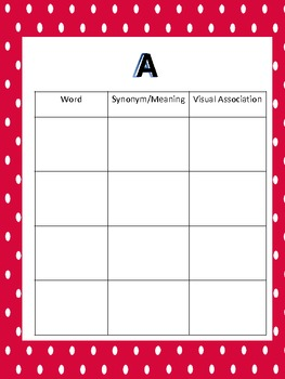 Personal Vocabulary Notebook