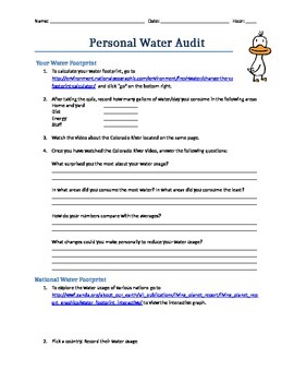 Personal Water Audit Web-quest
