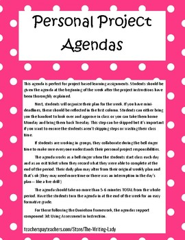 Personal Weekly Agendas for Project Based Learning Activities