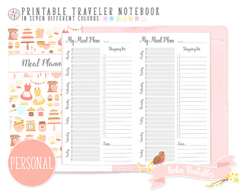 Personal Weekly Meal Plan Traveler Notebook Refill
