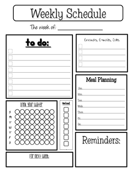 Personal weekly planner by colleen zehr teachers pay for Teacher diary template