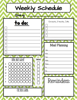 Personal Weekly Planner Sheet including Water Intake in Chevron