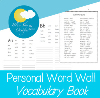Personal Word Wall Book
