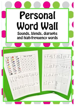 Personal Word Wall ABC Chart, Digraphs & Blends, and High Frequency Words