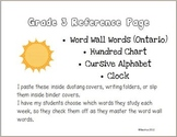 Personal Word Wall Chart - Grade 3 Sight Words, Hundred Chart, and more