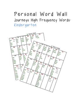 Personal Word Wall: Kindergarten High Frequency Words