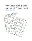 Personal Word Wall: Kindergarten High Frequency Words