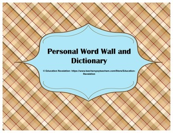 Personal Word Wall and Dictionary (Fry Words 1 - 100)
