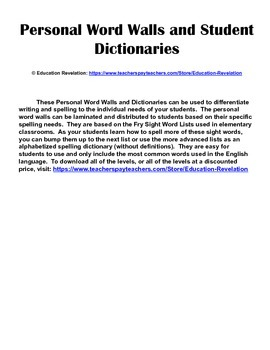 Personal Word Wall and Dictionary (Fry Words 1 - 1000)