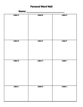Personal Word Wall sheet