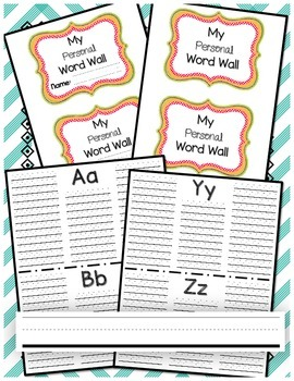 Personal Word Wall with handwriting lines!