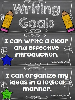 Writing Goals Clip Chart - 4th Grade