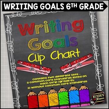 Writing Goals Clip Chart - 6th Grade