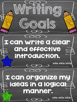 Writing Goals Clip Chart - 8th Grade