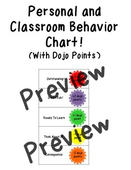 Personal and Classroom Behavior Chart with Dojo Points