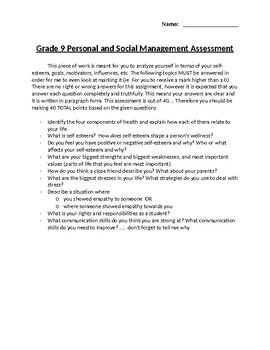 Personal and Social Management Assessment Grade 9 PE