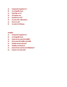 Personal information in French Interview speaking activity 2