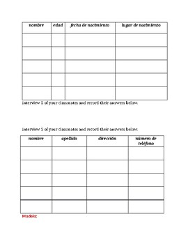 Personal information in Spanish Interview speaking activity 3