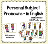 Personal subject pronoun posters -in English