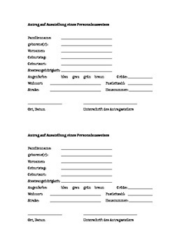 Personalausweis / German ID Card Application Form Fun Activity