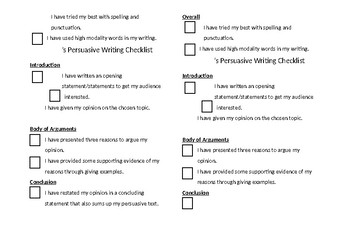 Personalised Persuasive Writing Checklists