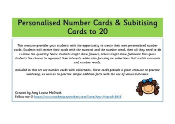 Personalised & Subitising Number Cards to 20