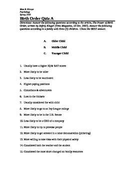 Psychology: Birth Order Quiz