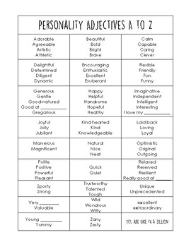Personality Adjectives A to Z
