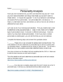 Personality Analysis Internet Assignment and Questions