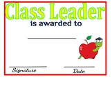 Class Leader Certificate: Personality Awards