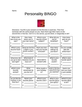 Personality BINGO Icebreaker
