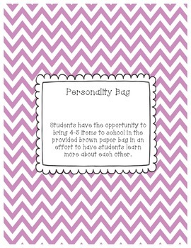 Personality Bag for Beginning of the Year