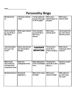 Personality Bingo- Icebreaker-beginning of the year activity