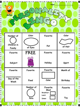 Beginning the Year: Personality Bingo, Math Graphing and Cooperative Learning
