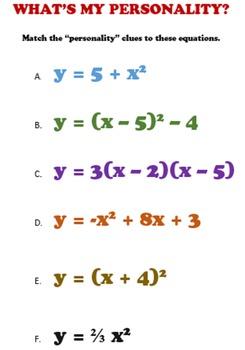 Quadratic Equations Algebra Activity: Personality Match-up, Two Levels