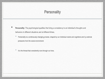 Personality PPT psychology notes