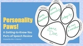 Personality Paws First Day of School Parts of Speech Review