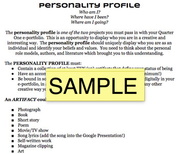Personality Profile Project Handout