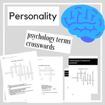Personality Psychology Crossword Practice | Psychology Activities