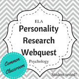 Personality Research Webquest, English or Physchology