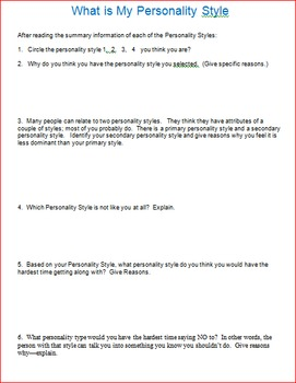 Personality Styles Lesson 1 Parts & 2 -- What is my Personality Style