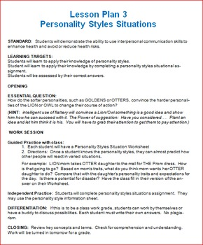 Personality Styles Unit Lesson 3 -- Situation Analysis of Personalities