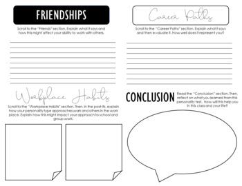 Personality Test Reflection Activity: Get to know your students!