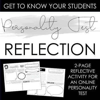 Personality Test Reflection Activity: Build Class Community! - Distance Learning